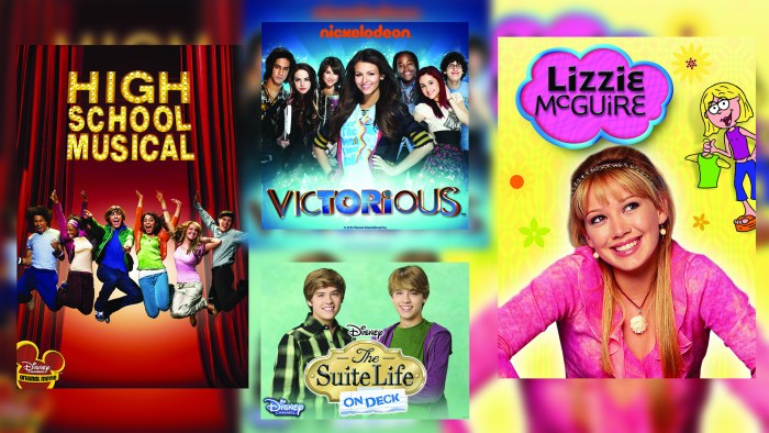 """High School Musical,"" ""Victorious,"" ""Suite Life of Zack and Cody"" and ""Lizzie McGuire"" posters in a collage."