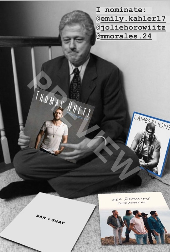 This is a finished product of the Bill Clinton Swag Trend, featuring country albums. Photo courtesy of Molly Conn.