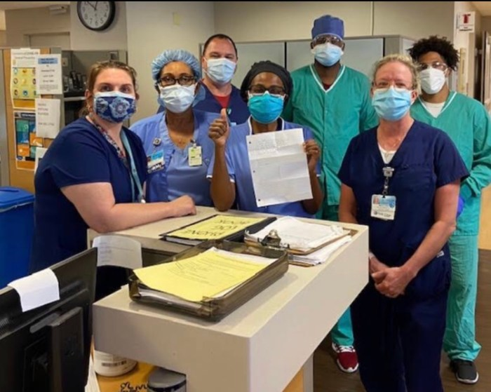 Junior Connor Hagen received a photo of medical staff at Holy Cross Hospital who received his letters.
