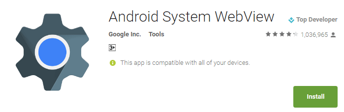 Android System WebView from the Google Play Store.