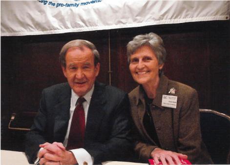 Eunie Smith with Pat Buchanan at an Eagle Council meeting.