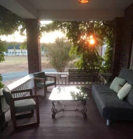 Arcadia Inn porch at sunset