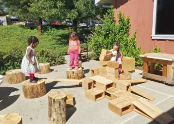 Children at Sierra College Child Development Center in Grass Valley, California, use Anji Play materials. (Submitted photo)