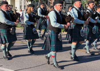 The Syracuse Scottish Pipe Band performed during the memorial march that went through Minoa. (Jason Klaiber)