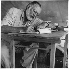 Ernest Hemingway Writing at Campsite in Kenya NARA 192655