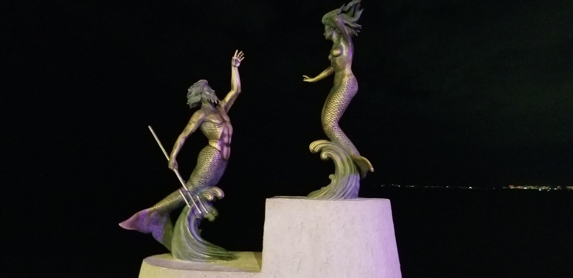 Mermaid and Merman sculpture