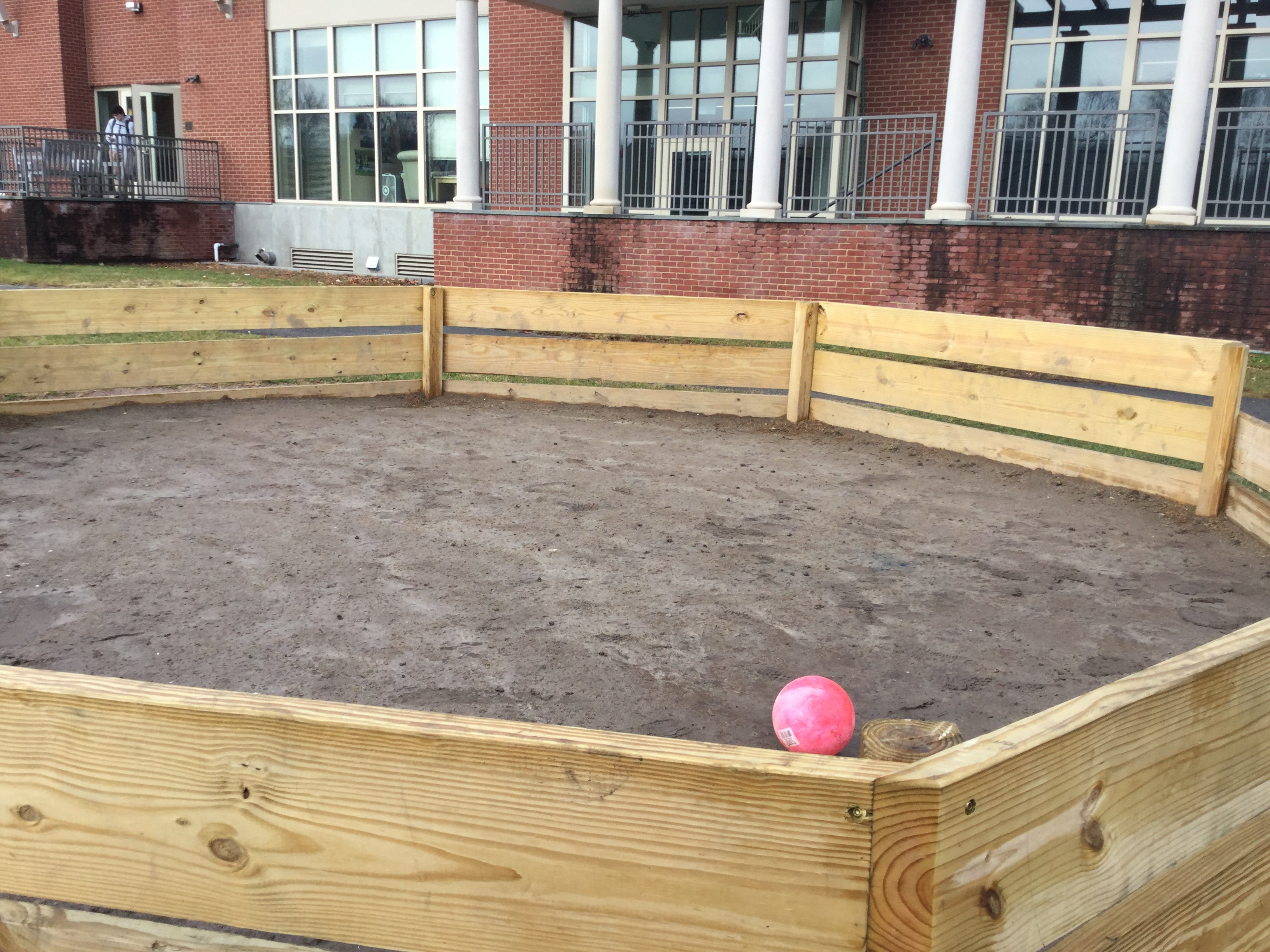 Brendan and his helpers constructed a Gaga Court for his school. The court is 20' in diameter and has seen a lot of use since its completion.