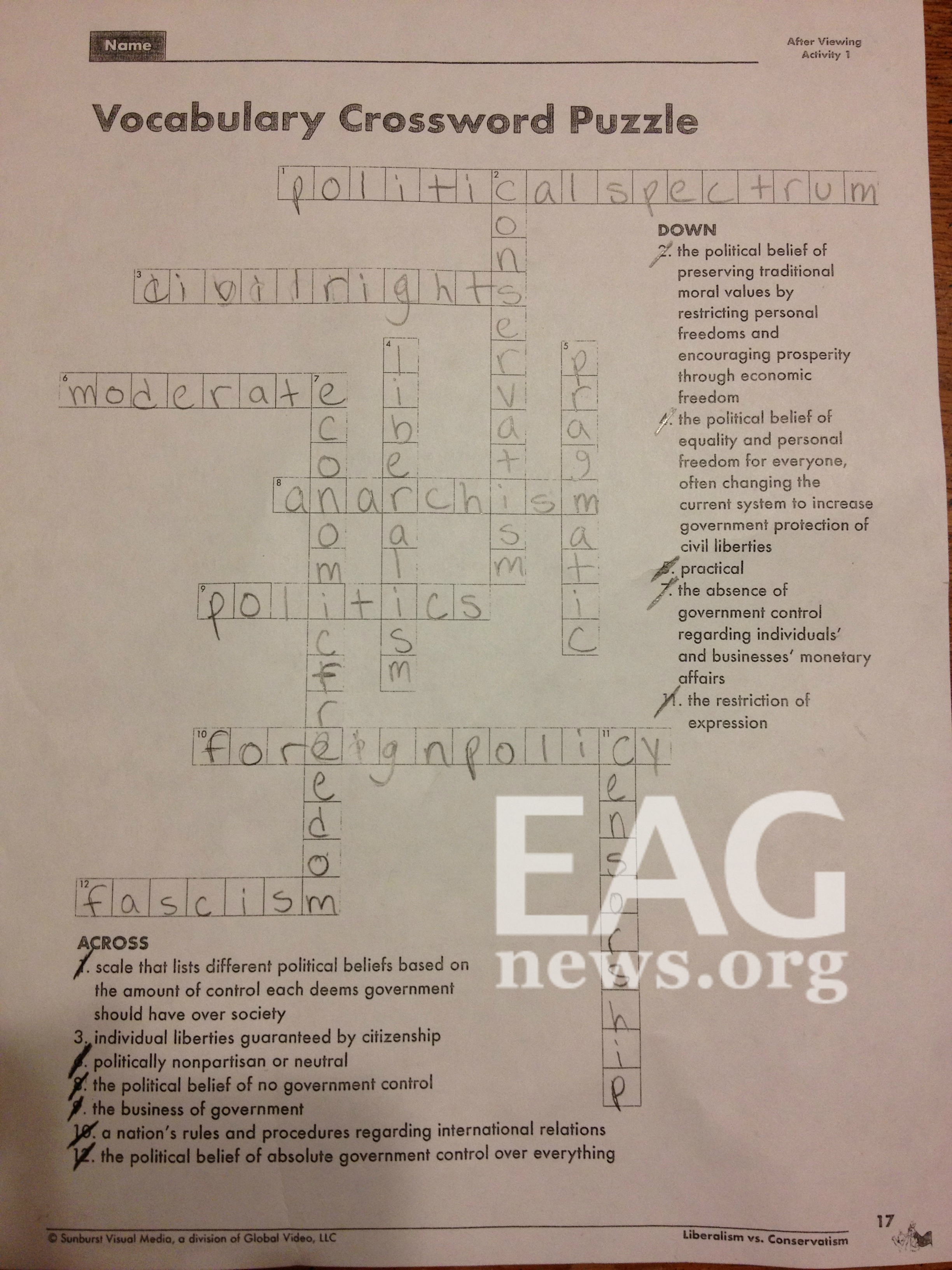 Wisconsin Public School Crossword Puzzle Conservatism Defined As Restricting Personal Freedoms