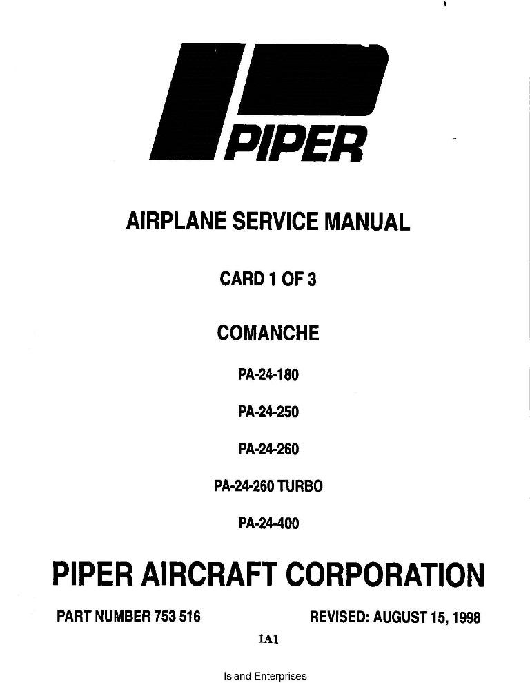 Piper Comanche Service Manual PA-24-180/250/260/400 Part
