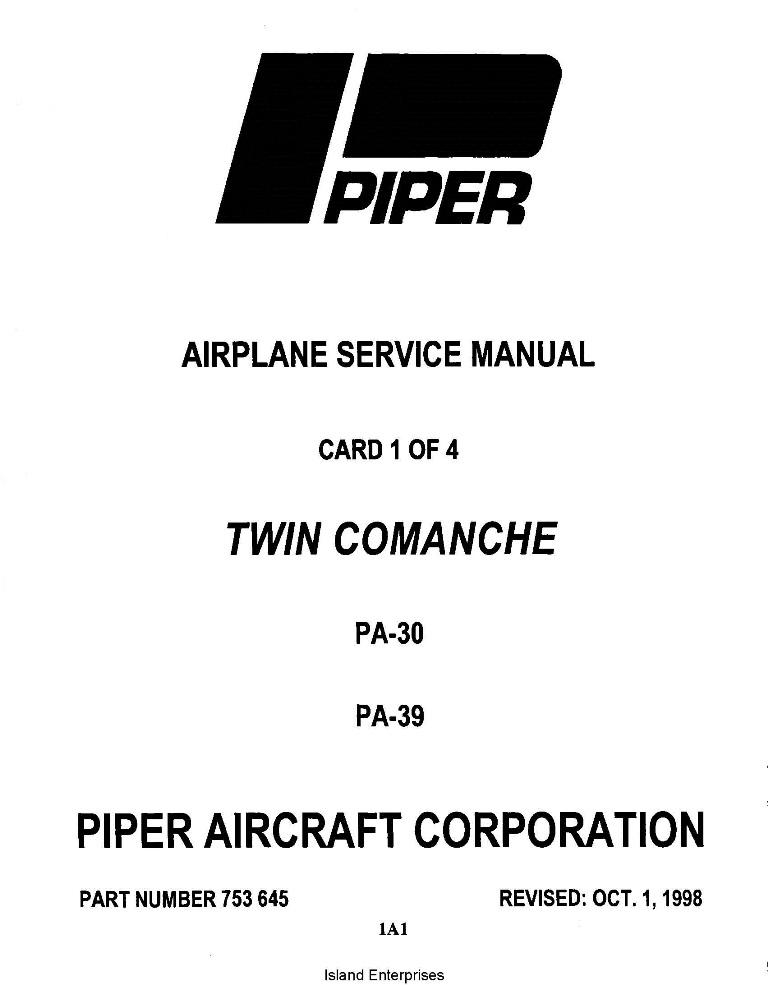 Piper Twin Comanche Service Manual PA-30/PA-39 Part # 753-645
