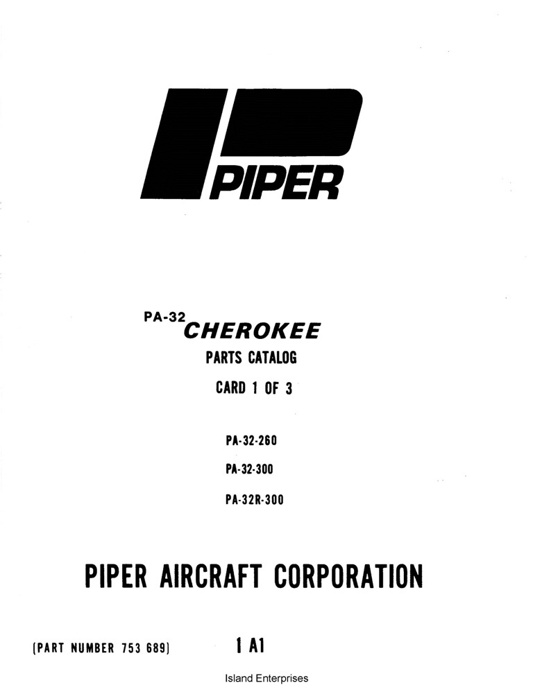 Piper Cherokee Parts Catalog PA-32-260/300 PA-32R-300 Part