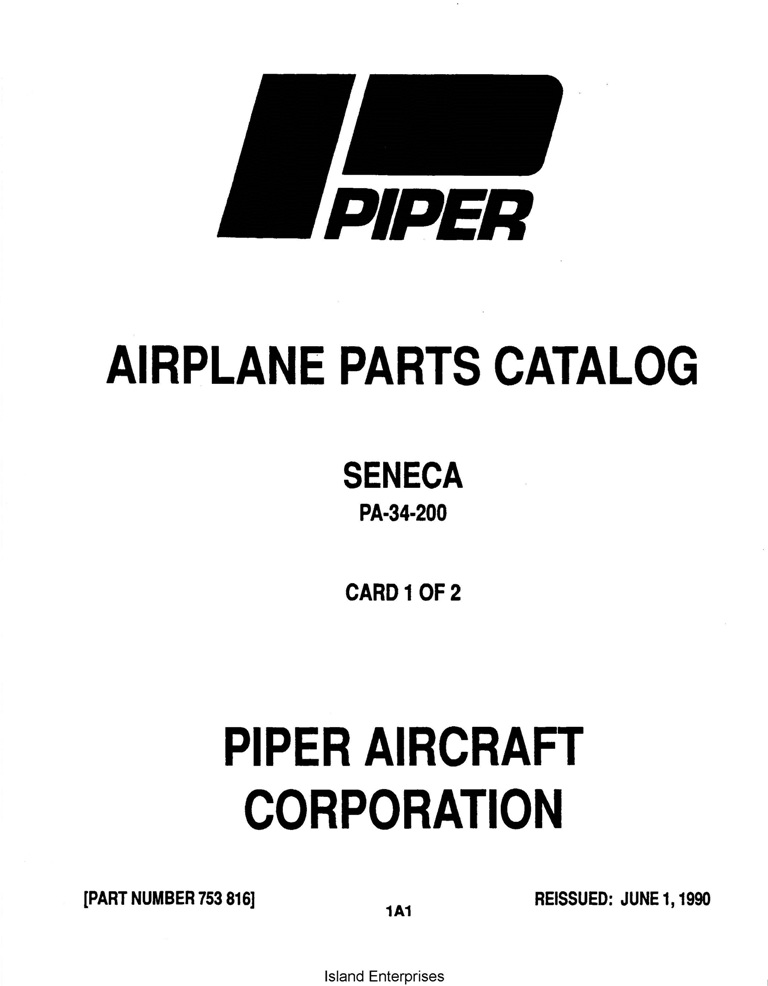 PIPER AIRPLANE PARTS CATALOG SENECA PA-34-200 Part # 753-816