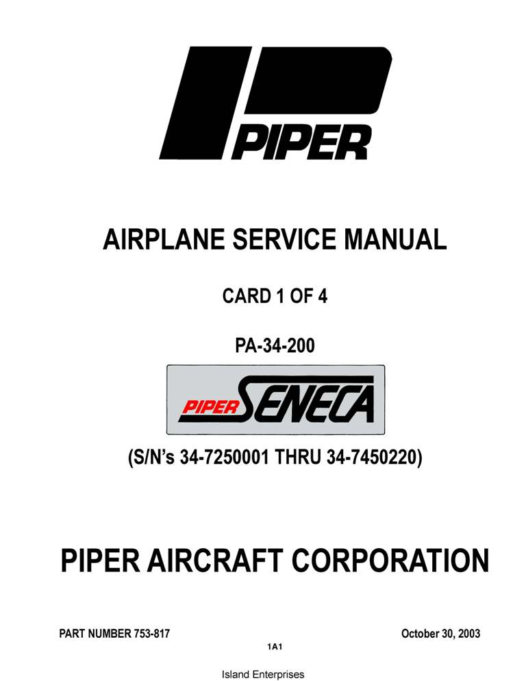Piper Seneca Service Manual PA-34-200 Part # 753-817