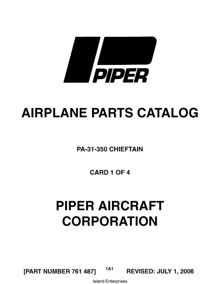 Piper Chieftain Parts Catalog PA-31-350 Part # 761-487