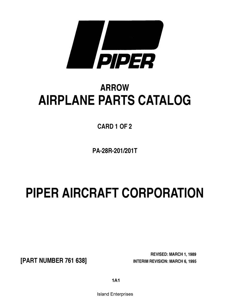 Piper Arrow Parts Catalog PA-28R-201/201T Part # 761-638