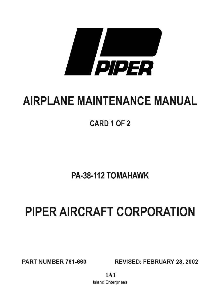PIPER PA-38-112 Tomahawk Maintenance Manual Part # 761-660