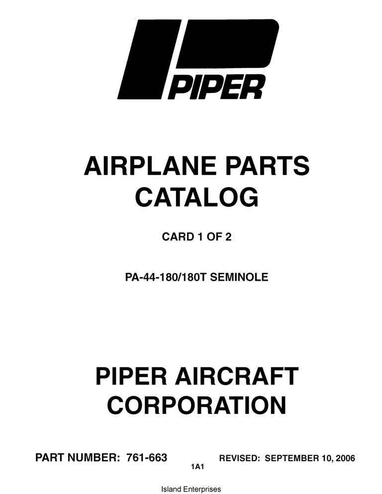 Piper Seminole Parts Catalog PA-44-180/180T Part # 761-663