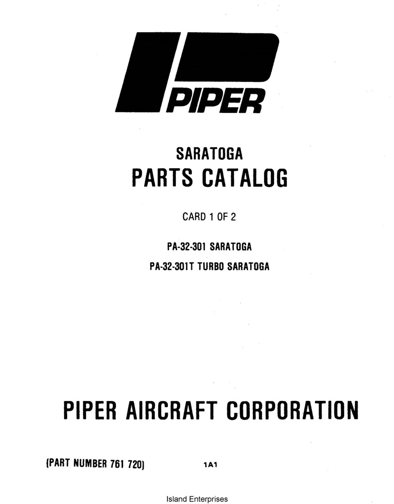 Piper Saratoga & Turbo Saratoga Parts Catalog PA-32-301
