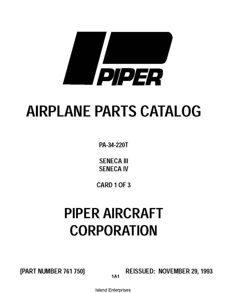 Piper Seneca III/IV Parts Catalog PA-34-220T Part # 761-750