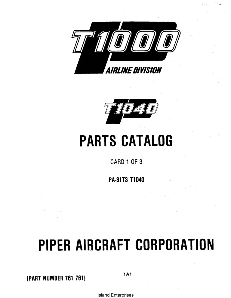 Piper Commuter Liner Parts Catalog PA-31T3 T1040 Part