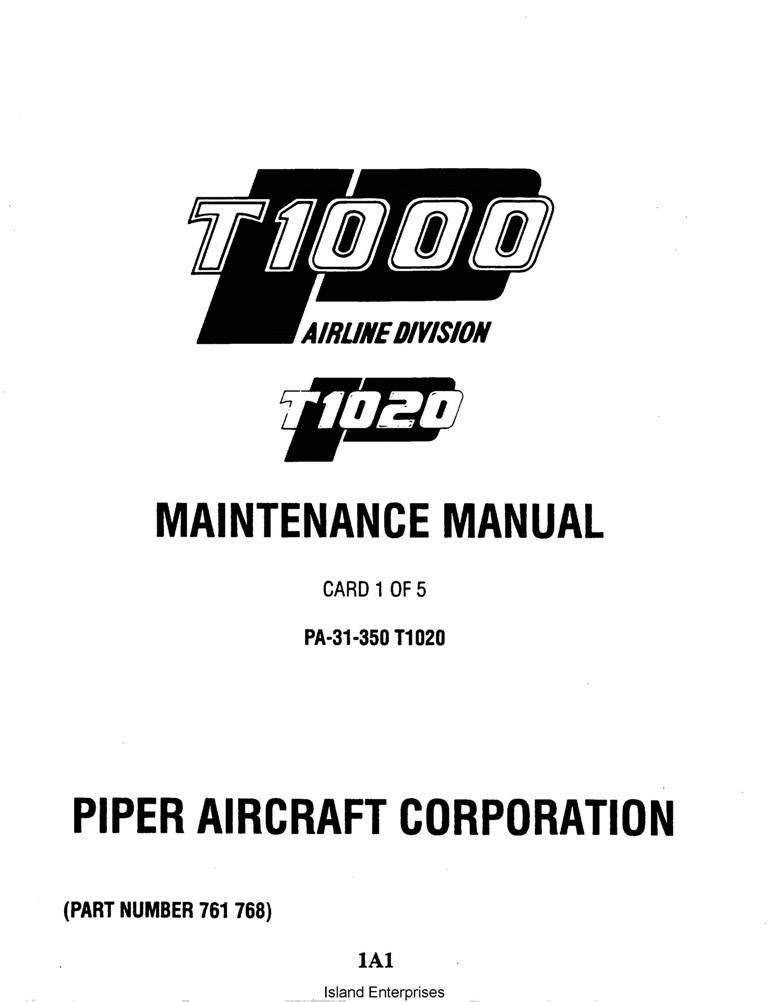 Piper Chieftain Maintenance Manual PA-31-350 T1020 Part