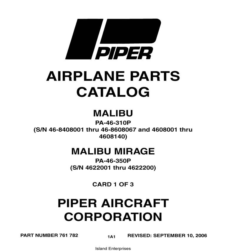 Piper Malibu & Malibu Mirage Parts Catalog PA-46-310P PA