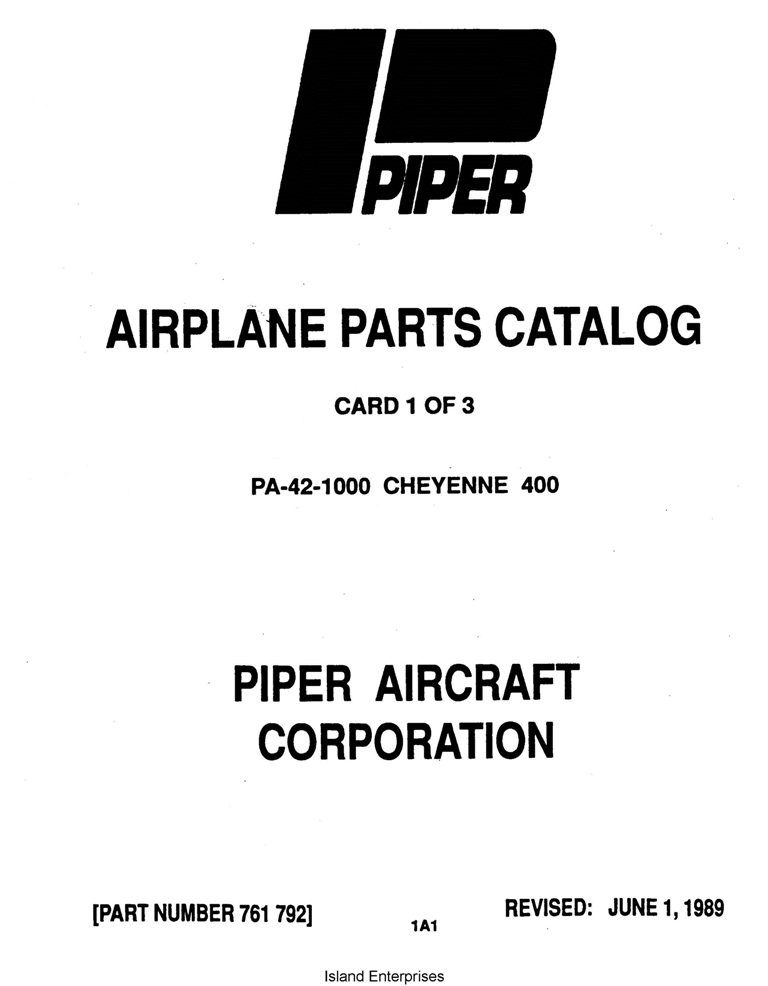 Piper Cheyenne 400 Parts Catalog PA-42-1000 Part # 761-792