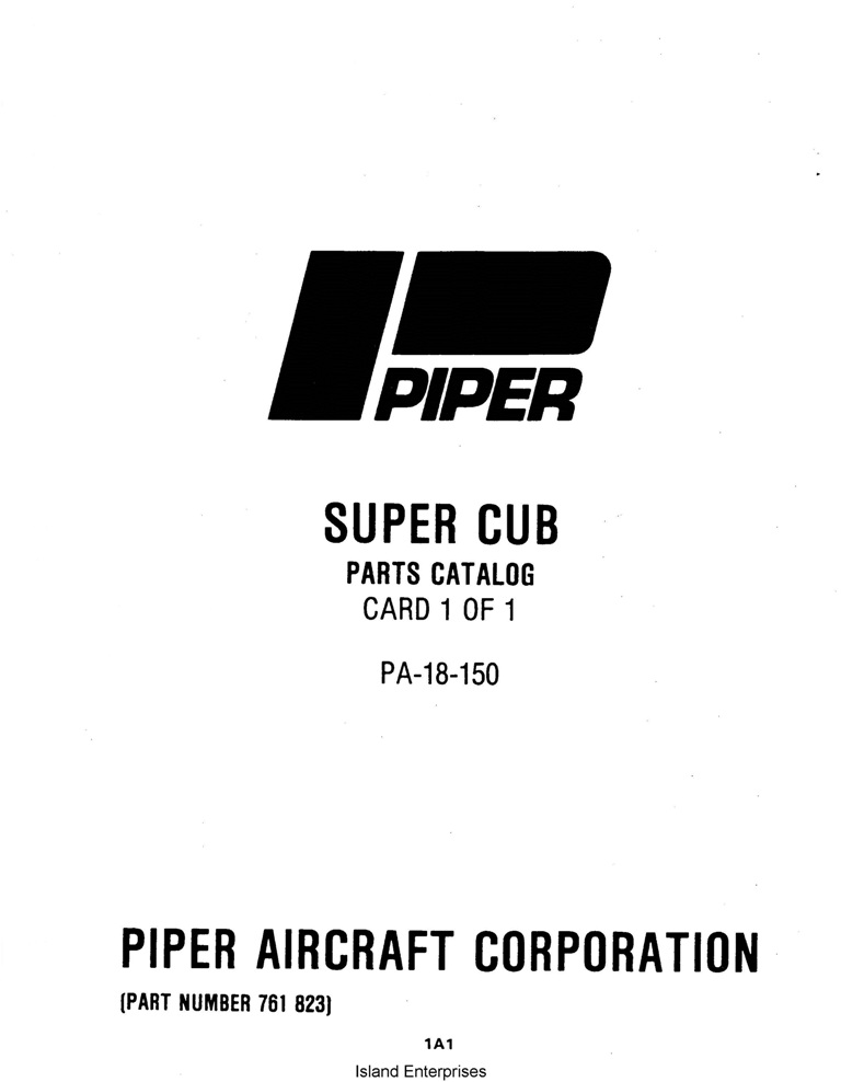 Piper Super Cub Parts Catalog PA-18-150 Part # 761-823