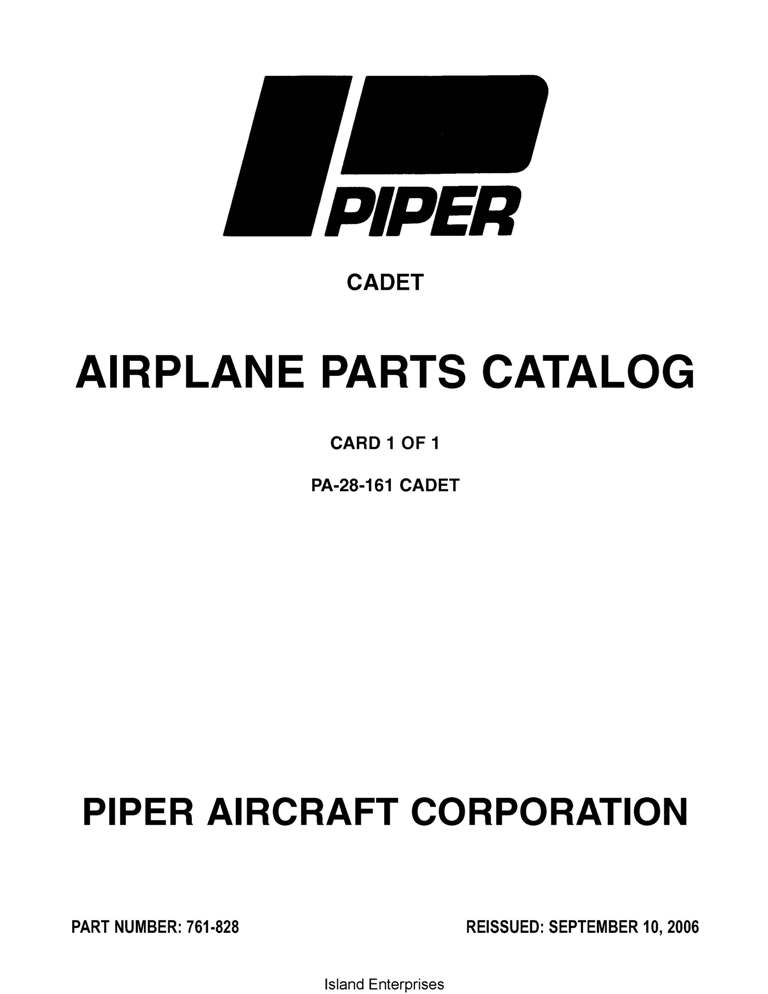 Piper Cadet Parts Catalog PA-28-161 Part # 761-828