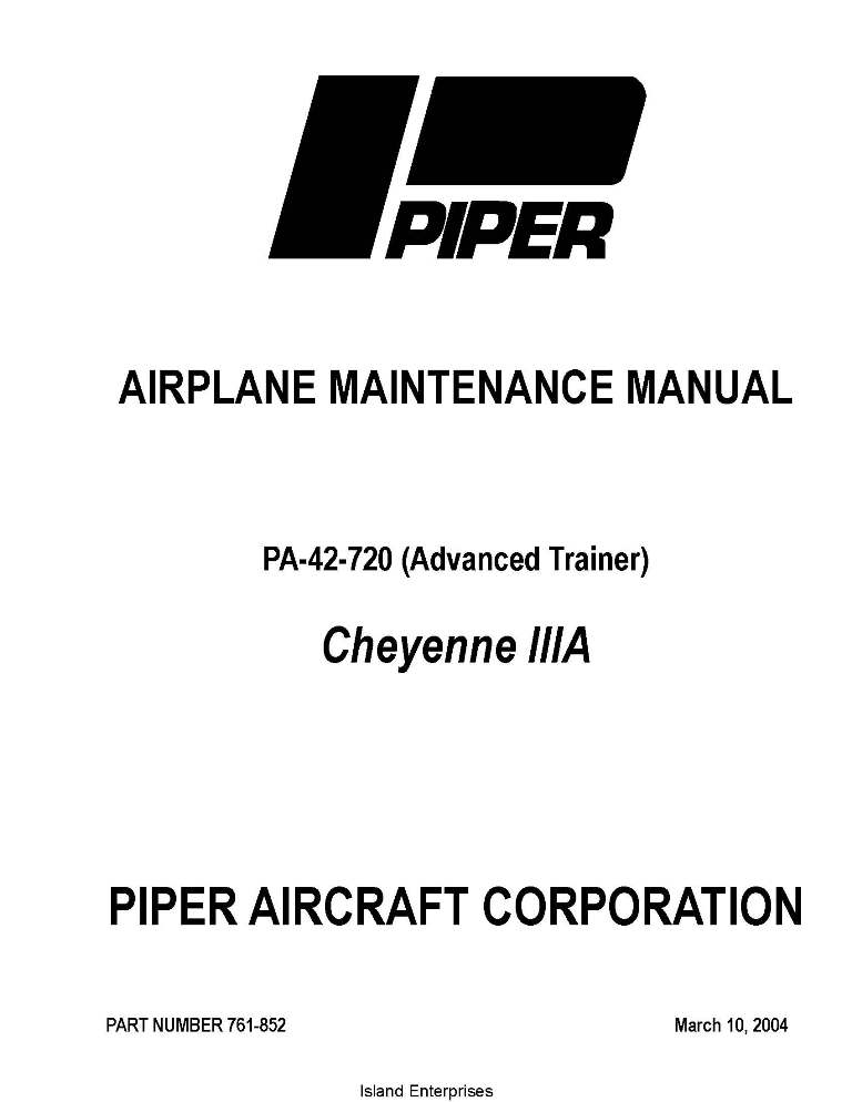Piper Cheyenne IIIA Maintenance Manual PA-42-720 Part