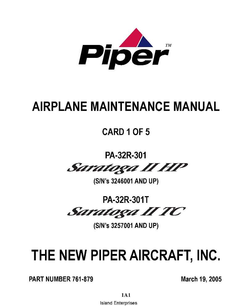 Piper Saratoga II HP/ II TC Maintenance Manual PA-32R-301