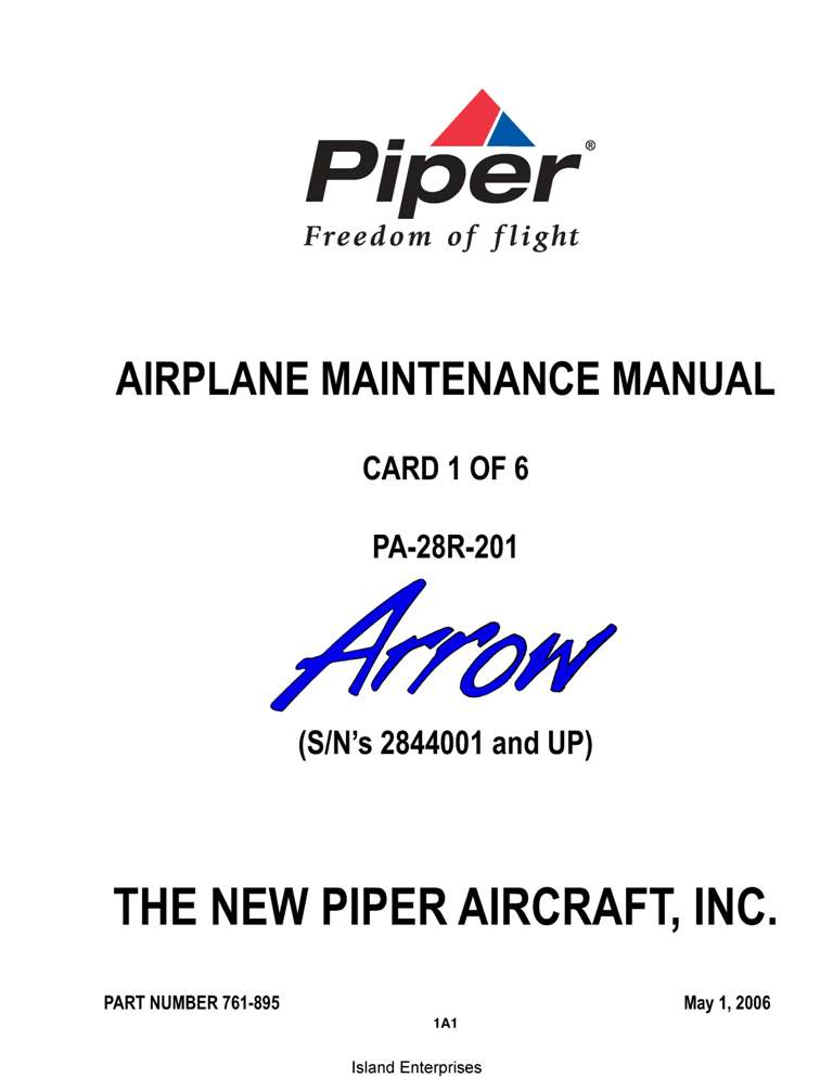 Piper Arrow Maintenance Manual PA-28R-201 Part # 761-895