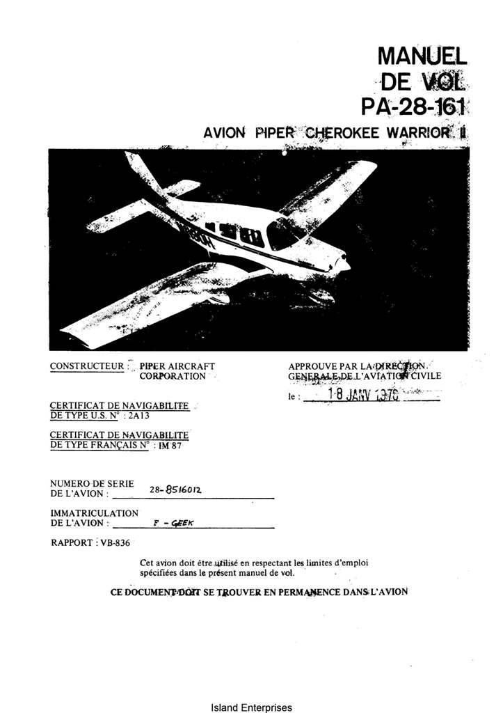 Avion Piper Cherokee Warrior II PA-28-161 Manual de Vol