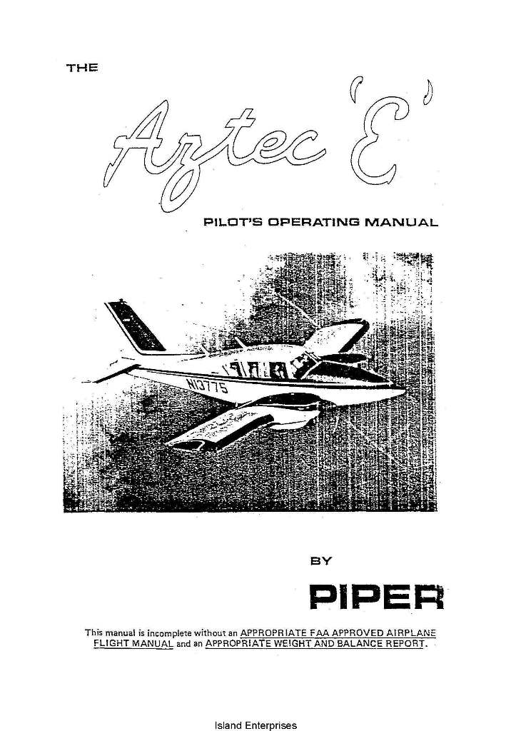 Piper Twin Comanche Service Manual Pa Pa