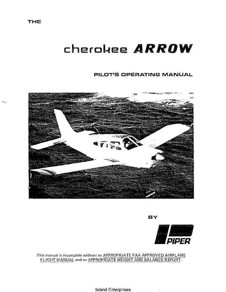 Piper Cherokee Arrow PA-28R-200 Pilot's Operating Manual 2005