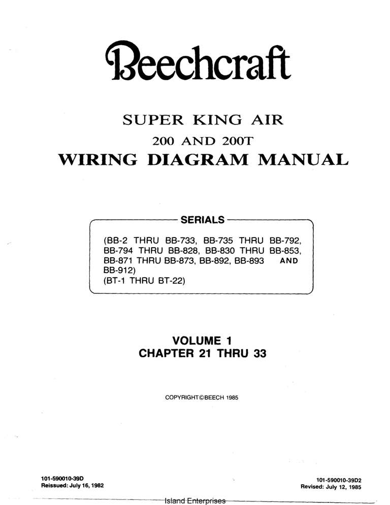 Beechcraft Super King Air 200 And 200t Wiring Diagram Manual 1982