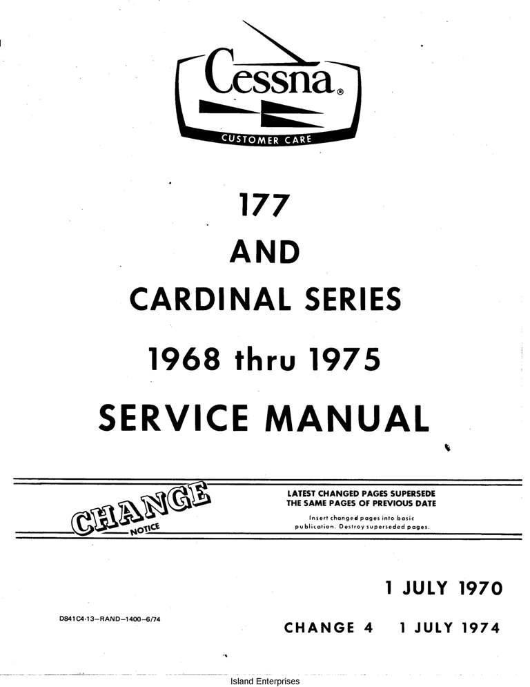 Cessna Model 177 and Cardinal Series Service Manual (1968