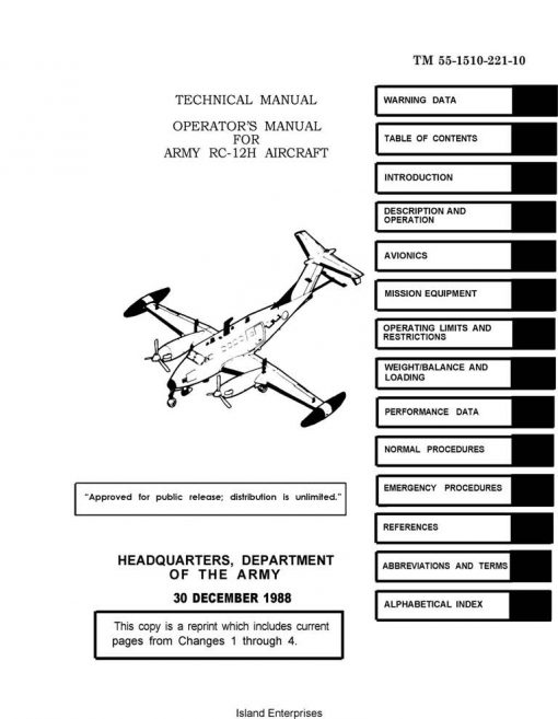 Beechcraft RC-12H Aircraft TM 55-1510-221-10 Operator's