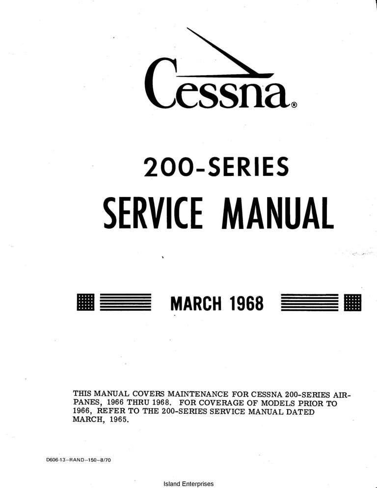 Cessna t210 service Manual