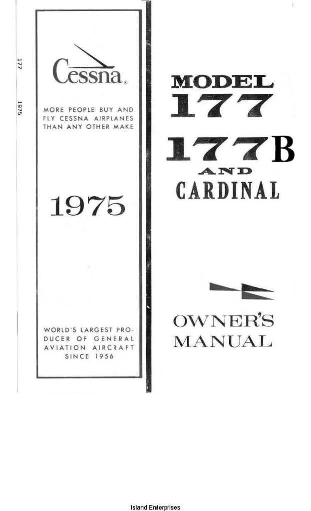 Cessna 177, 177B and Cardinal Owner's Manual 1975