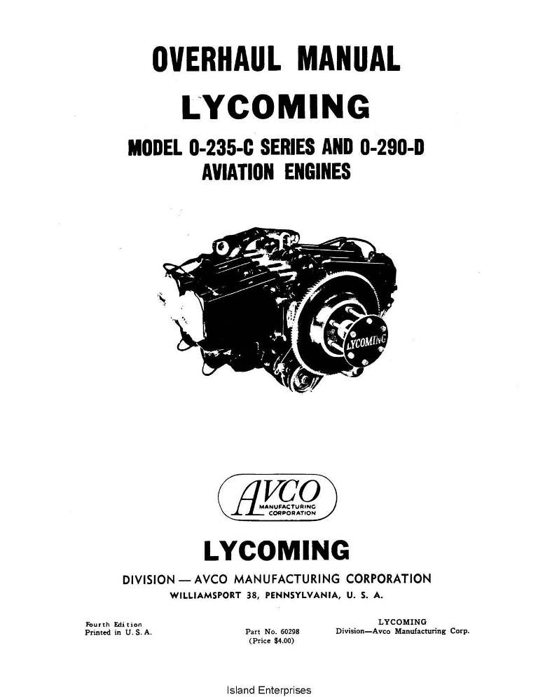 Lycoming Overhaul Manual 60298 O-235-C Series & O-290-D