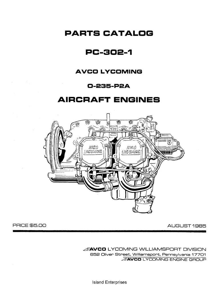 Lycoming Parts Catalog PC-302-1 O-235-P2A