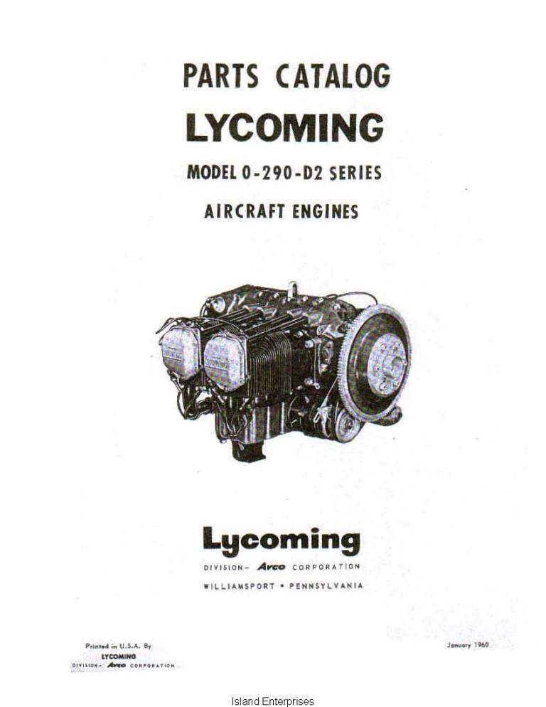 Lycoming O-290-D2 Series Aircraft Engines Parts Catalog