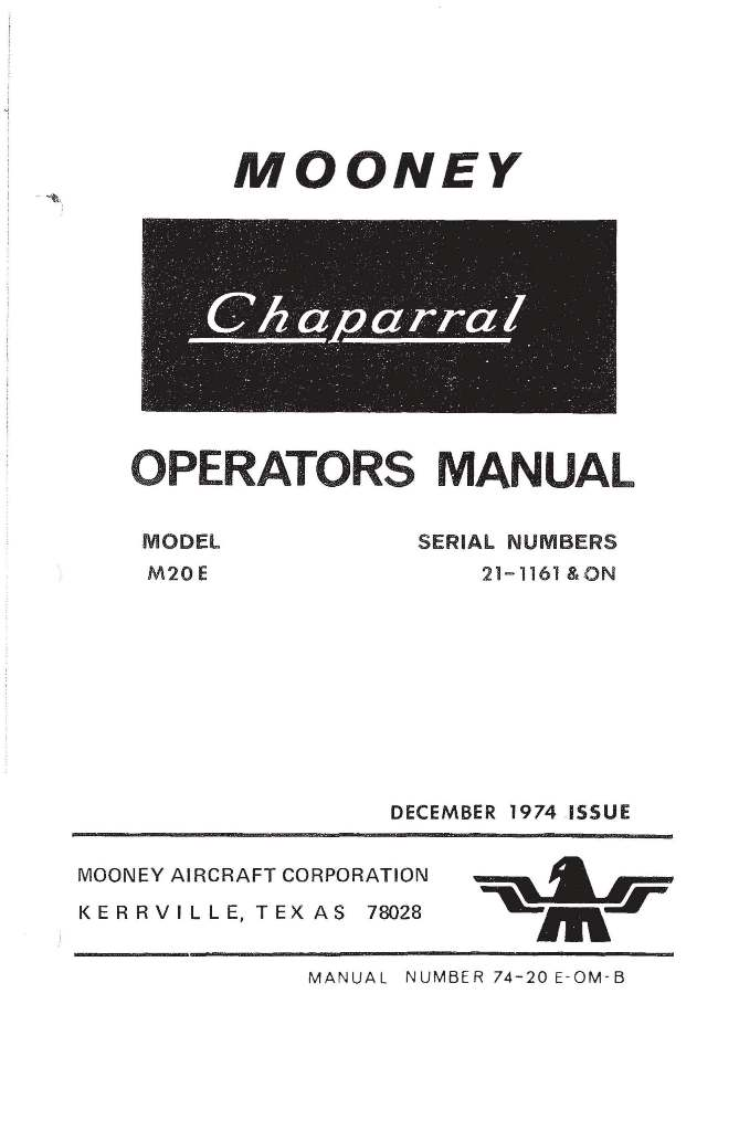 Mooney Chaparral M20E Operators Manual 1974