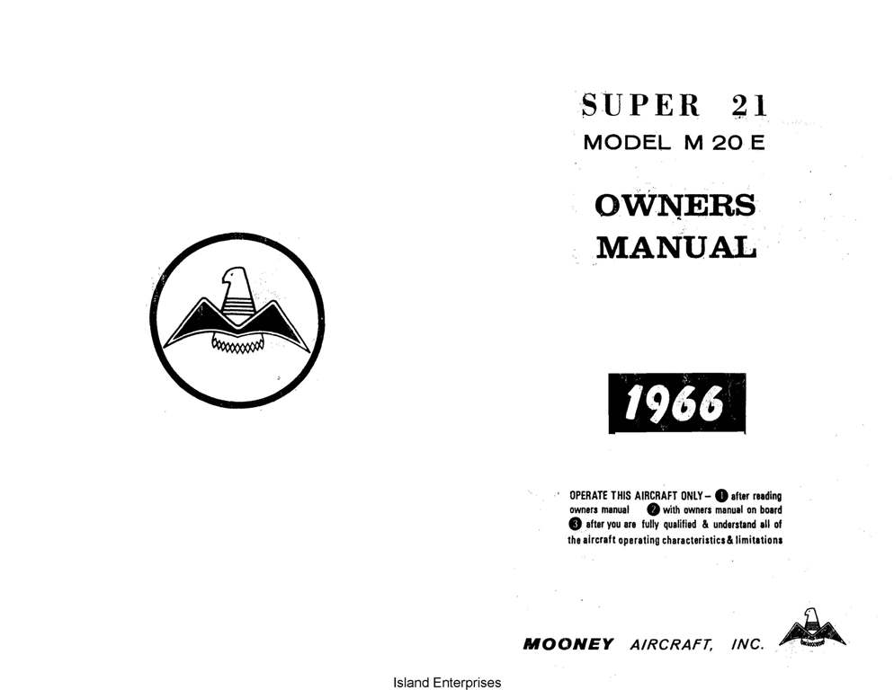 Mooney M20E Super 21 Aircraft Owner's Manual 1964