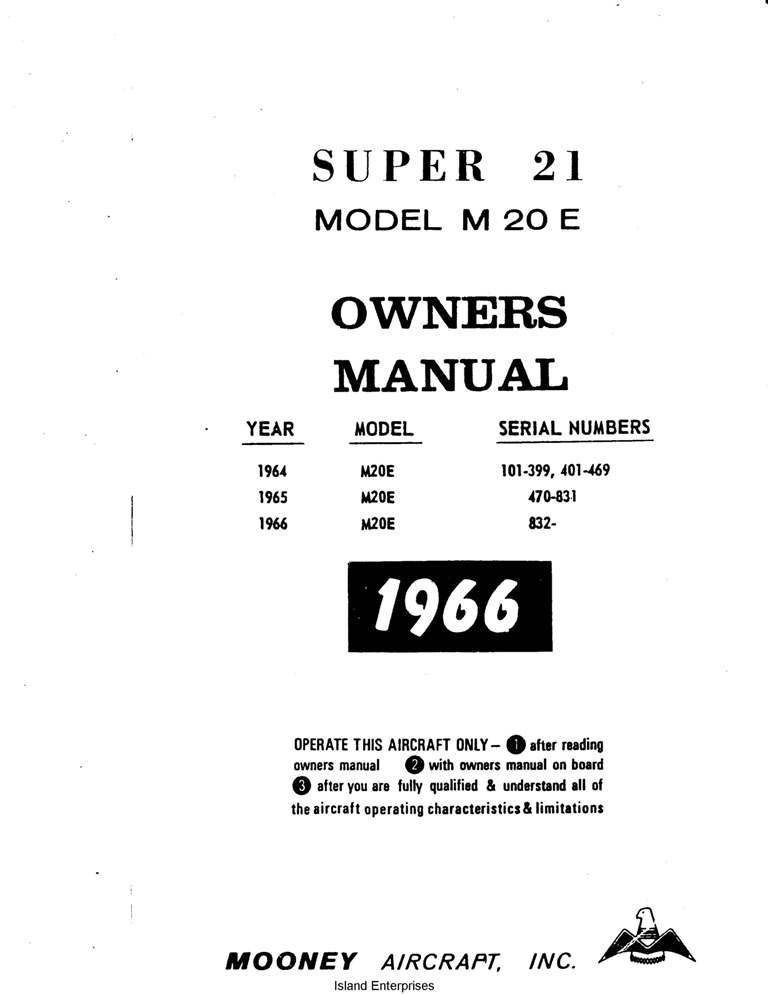 Mooney Super 21 M20E Owners Manual