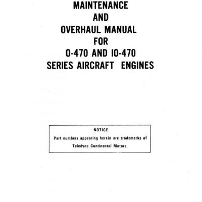 Continental O-470, IO-470 Engine Manual Archives