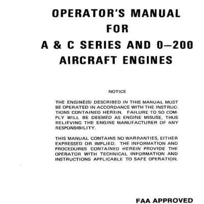 Continental c-75, c-85, c-90 & o-200 overhaul manual. – g's plane.