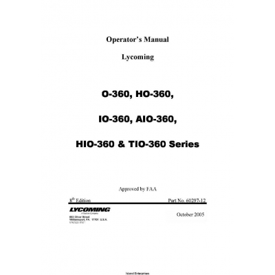 Lycoming Operator's Manual for O-360, HO-360, IO-360, AIO