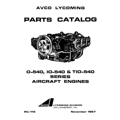 Lycoming Parts Catalog PC-115-3 O-540, IO-540 & TIO-540